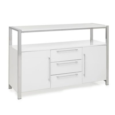 Elite 2 Door 3 Drawer Sideboard - Gloss white/Chrome