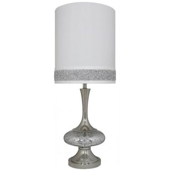 Mercury Disc Table Lamp with White Shade