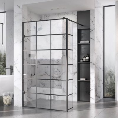 Roman Liberty Black Grid Wetroom Screen + Wall Arm...