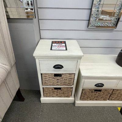 side table with drawer & baskets
